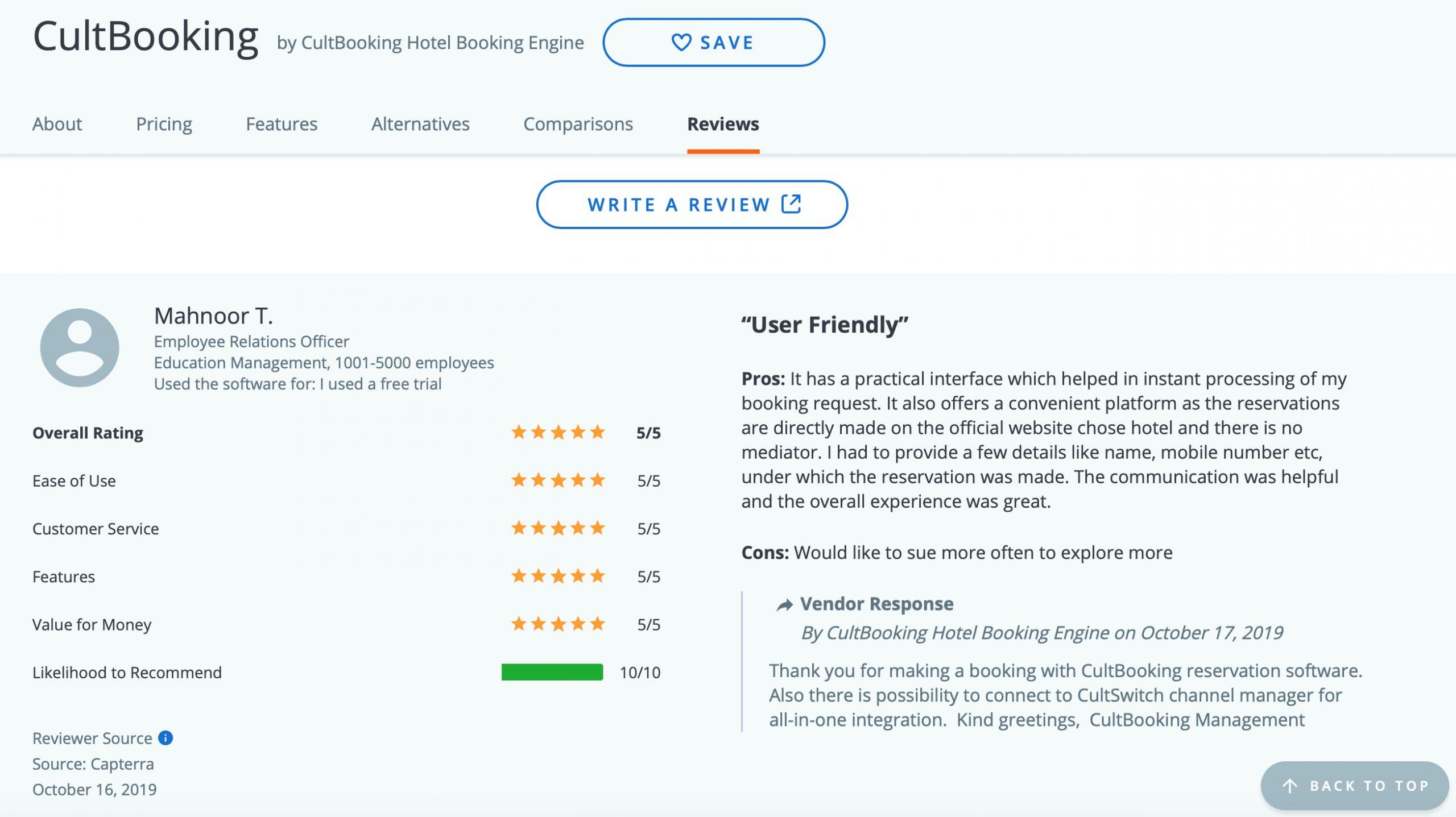 capterra cultbooking reviews feedback