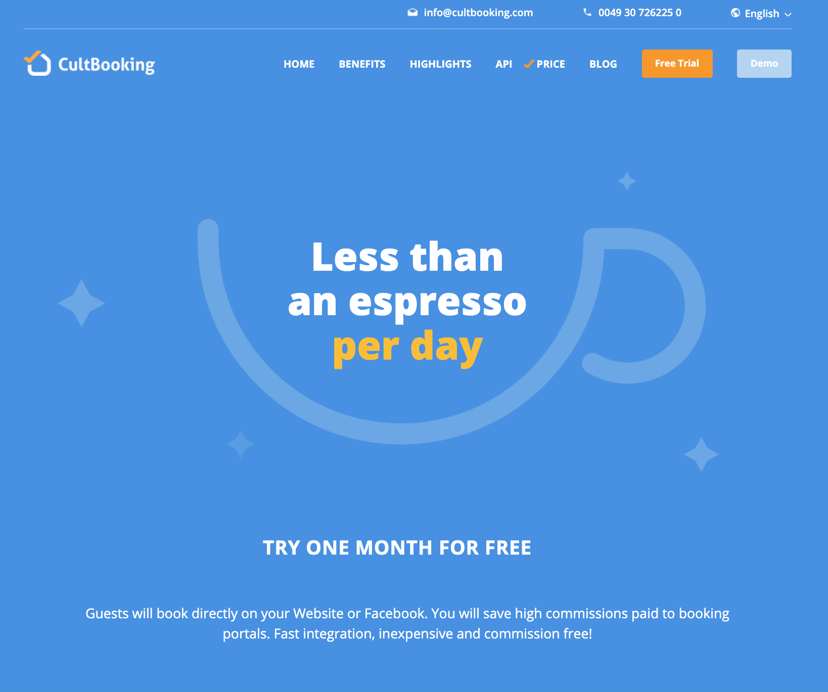 cultbooking price-less than an espresso per day