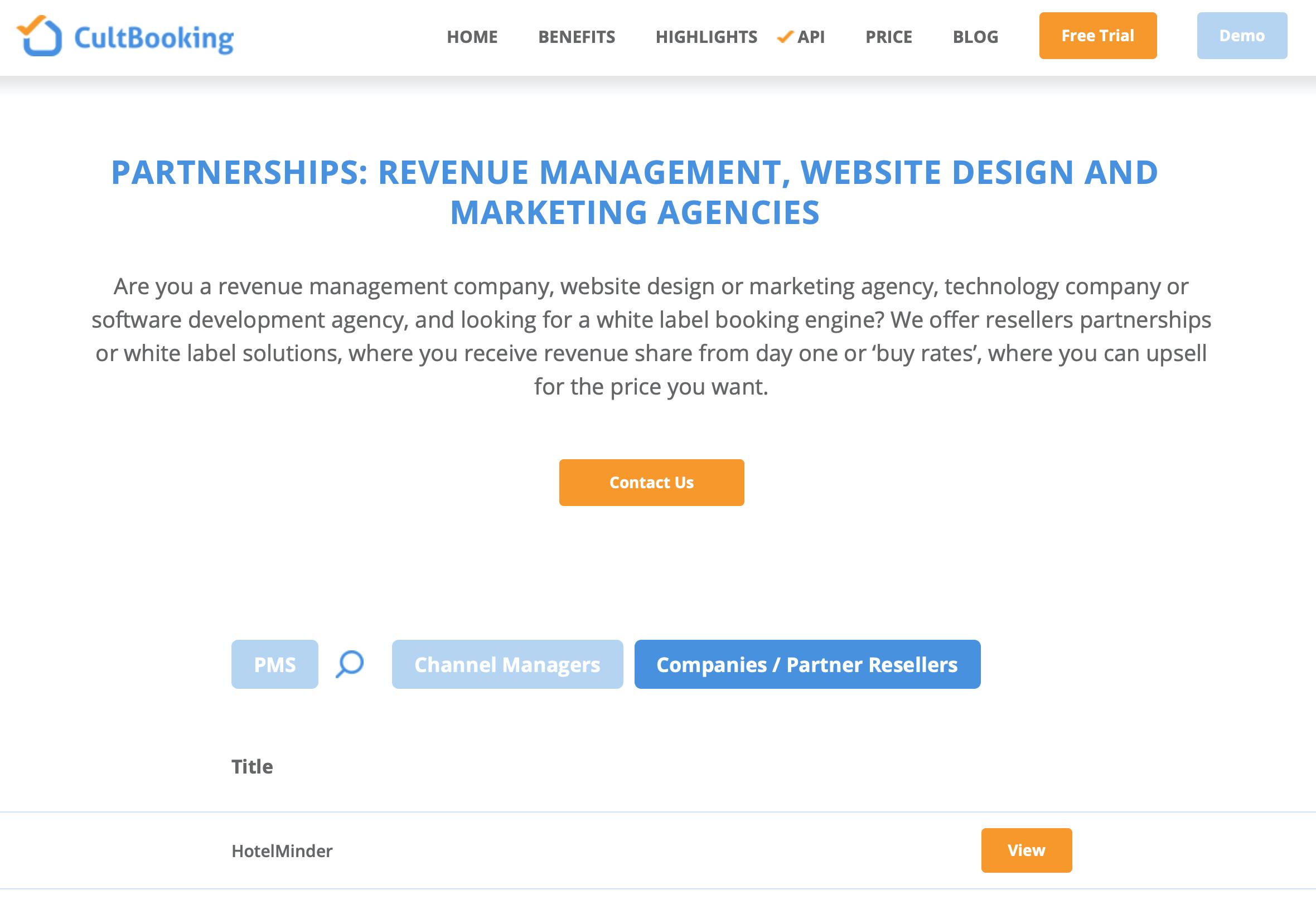 hotelminder on cultbooking website marketing agency partnership - partner