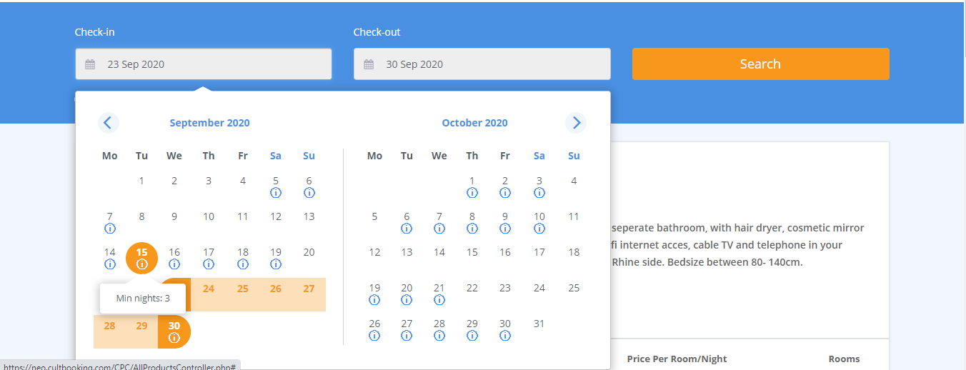 cultbooking smart calendar - price - min stay - book now