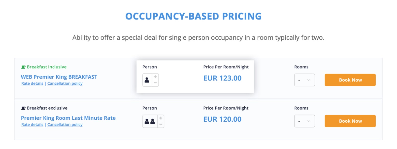 Occupancy - single persons - cultbooking