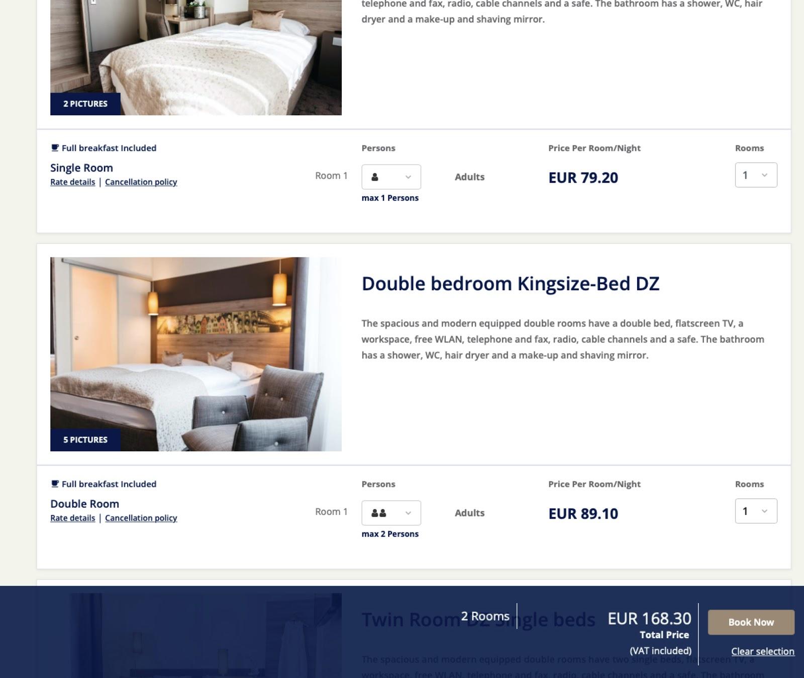 cultbooking - one booking - multiplerooms